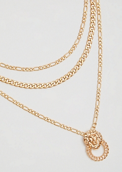 Gold Lion Ring Layered Chain Necklace