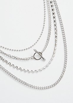 Silver Toggle Front Mixed Chain Layered Necklace
