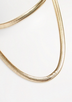 Gold Metallic Snake Coil Chain Layered Necklace