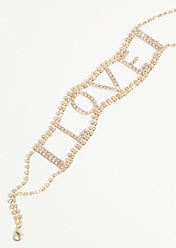 Gold Gem Love Wide Choker Necklace