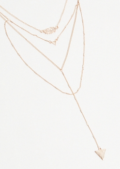Rose Gold Geo Leaf Layered Necklace