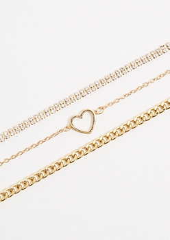 3-Pack Gold Heart Stone Choker Necklace Set