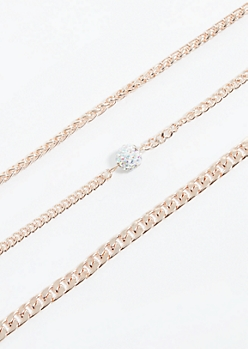 3-Pack Rose Gold Chain Cluster Choker Necklace Set