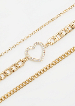 3-Pack Gold Chain Heart Choker Necklace Set