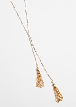 Gold Rhinestone Tassel Lariat Necklace