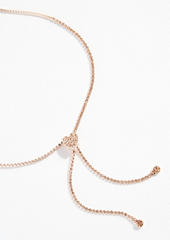 Rose Gold Gem Heart Pull Chain Lariat Necklace