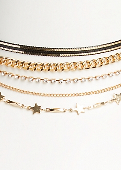 5-Pack Gold Metallic Chain & Star Choker Set