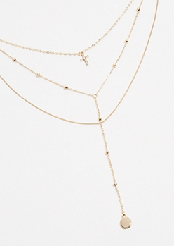 Gold Y Shaped Cross Layered Necklace