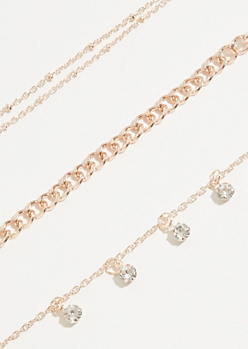 3-Pack Rose Gold Chain Necklace Set