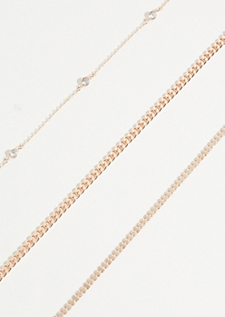 3-Pack Rose Gold Gem Chain Necklace Set