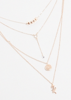 Rose Gold Charm Layered Necklace