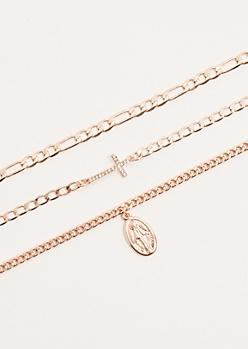 3-Pack Rose Gold Saint Pendant Chain Choker Necklace Set