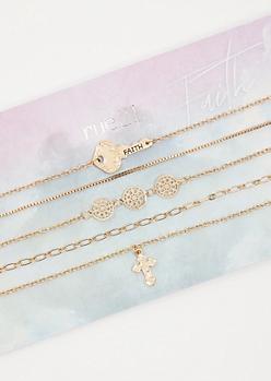 4-Pack Gold Cross Charm Choker Necklace Set
