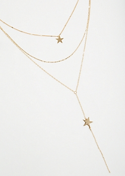 Gold Star Y Shape Layered Necklace