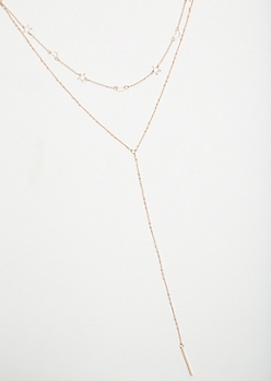 Rose Gold Moon and Star Y Shape Necklace