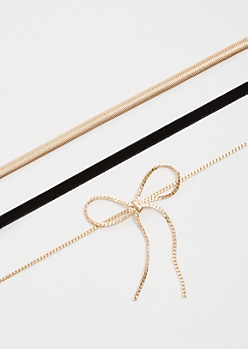 3-Pack Gold Chain Bow Choker Necklace Set
