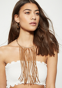 Gold Faux Suede Dangle Fringe Necklace