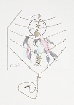 Silver Boho Dream Catcher Layered Necklace