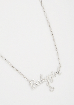 Silver Baby Girl Heart Charm Necklace
