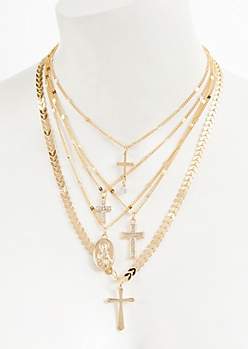 Gold Layered Cross Pendant Necklace