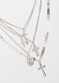 Silver Layered Cross Pendant Necklace