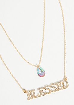 Gold Blessed Gem Layered Necklace
