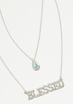 Silver Blessed Gem Layered Necklace