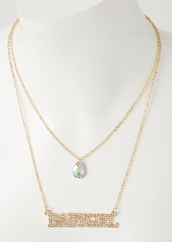 Gold Babygirl Gem Layered Necklace