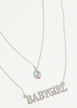 Silver Babygirl Gem Layered Necklace