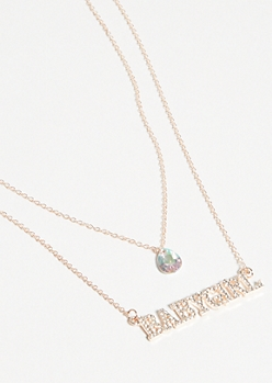 Rose Gold Double Layer Baby Girl Necklace