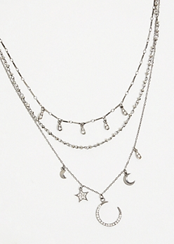 Dark Metal Star Gem Layered Necklace