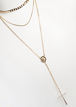 3-Pack Gold Cross & Pendant Drop Necklace Set