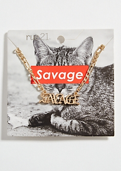 Gold Savage Pendant Chain Necklace