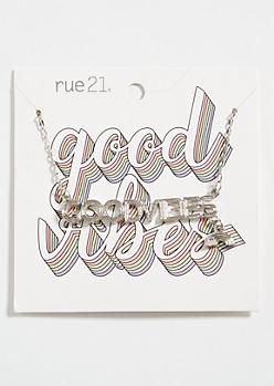 Silver Good Vibes Rainbow Charm Necklace