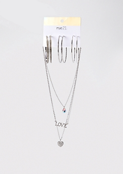 6-Pack Silver Love Stone Hoop And Necklace Set