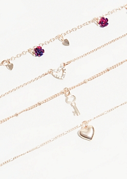 4-Pack Rose Gold Rose Heart Necklace Set