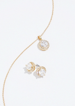 2-Pack Gold Cubic Zirconia Earring and Necklace Set