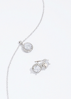 2-Pack Silver Cubic Zirconia Earring and Necklace Set