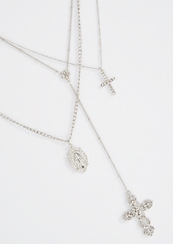 3-Pack Antique Silver Drop Cross Necklace Set