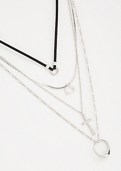 4-Pack Silver Ring Cross Necklace Set