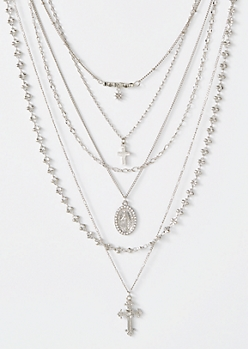 6-Pack Silver Cross Bead Necklace Set