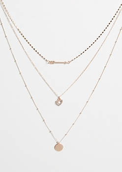 Rose Gold Arrow Charm Layered Necklace