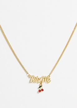Gold Bite Me Cherry Charm Necklace