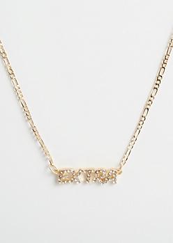 Gold Rhinestone Extra Necklace