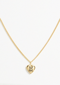Gold Bad Heart Locket Necklace