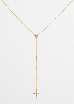 Gold Cross Y Shape Chain Necklace