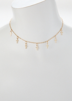 Gold Cross Dangle Charm Choker Necklace