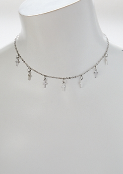 Silver Cross Dangle Charm Choker Necklace