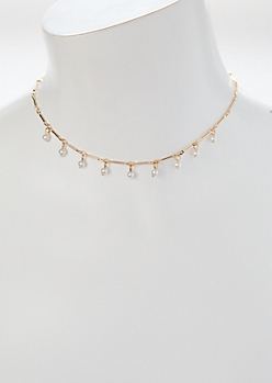 Gold Pearl Dangle Charm Choker Necklace