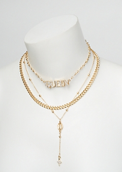 3-Pack Gold Layered Queen Dangle Necklace Set